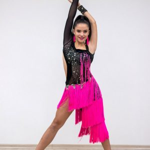 Latinské šaty (Čierna / Ružová)